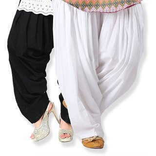KRISO Black and White Cotton Full Patiala Salwar combo of 2