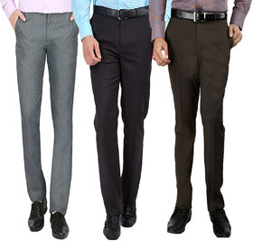 Gwalior Pack Of 3 Formal Trousers - Brown, Grey, Light Grey