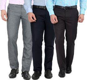 Gwalior Pack Of 3 Fromal Trousers - Blue, Grey, Light Grey