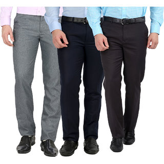 Inspire Gwalior Pack Of 3 Regular Fit Fromal Trousers - Blue, Grey, Light Grey For Men