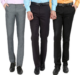 Gwalior Pack Of 3 Formal Trousers - Black, Grey, Light Grey