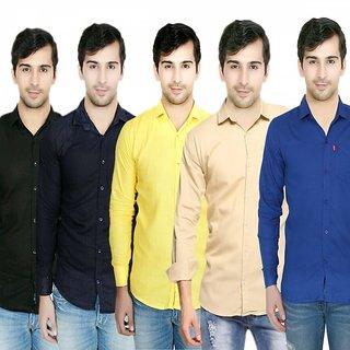 Knight Riders Pack Of 5 Plain Casual Slimfit Poly-Cotton ShirtsBlueYellowBlackNavyCream