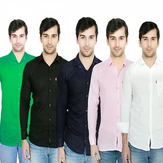 Knight Riders Pack Of 5 Plain Casual Slimfit Poly-Cotton ShirtsWhiteBlackNavyPinkGreen