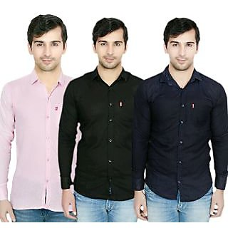Knight Riders Pack Of 3 Plain Casual Slimfit Poly-Cotton ShirtsPinkBlackNavy