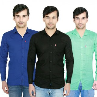 Knight Riders Pack Of 3 Plain Casual Slimfit Poly-Cotton ShirtsBlueNavyLight green