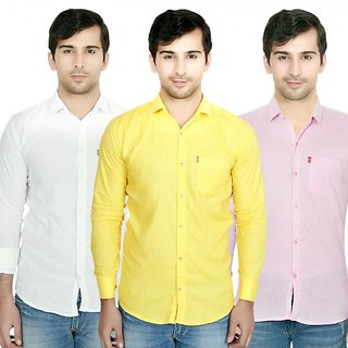 Knight Riders Pack Of 3 Plain Casual Slimfit Poly-Cotton ShirtsWhiteYellowPink