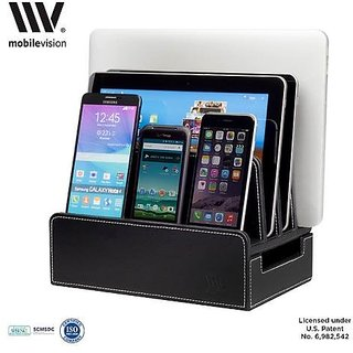 Mobilevision Charging Station Slim Black Faux Leather Executive Stand And Docking Organizer For Multiple Devices Smartphones Tablets Laptops