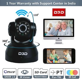 D3D Wireless HD IP Wifi CCTV Watch ONLINE DEMO Right Now Indoor Security Camera  Support Micro SD Card   Black Color