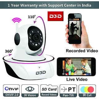 D3D Wireless HD IP Wifi CCTV Indoor Security Camera,(White Color)