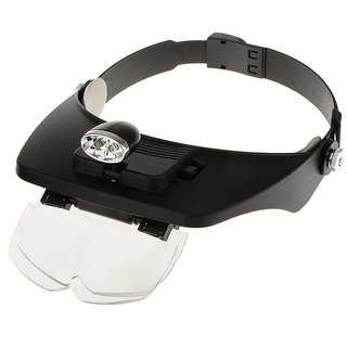 PIA INTERNATIONAL Led Adjustable Headband Magnifying Glass Magnifier Loupe W/ Multi-Power Lens