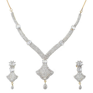 American Diamond Necklace With Earing For Women Ns101_1