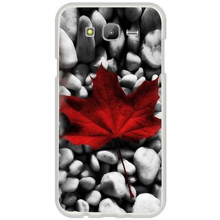 Fuson Designer Phone Back Case Cover Samsung Galaxy E7 ( Red Leaf On Pebbles )