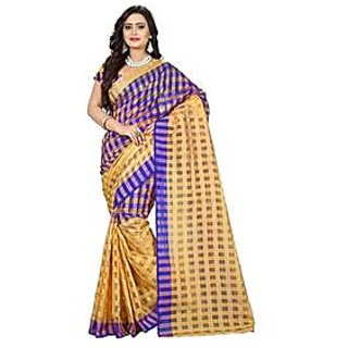 Indian Beauty Multicolor Cotton Self Design Saree With Blouse
