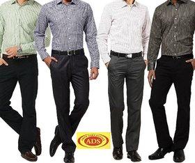 Gwalior Men's Suiting  Shirting Combo 4 Trouser 4 Shirt Fabric