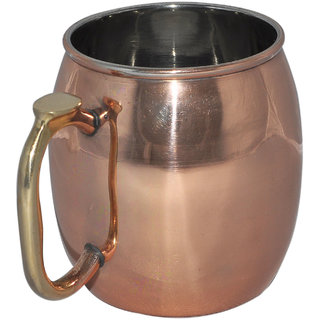 Copper Plating Stainless Steel Moscow Mule Mug with Brass Handle
