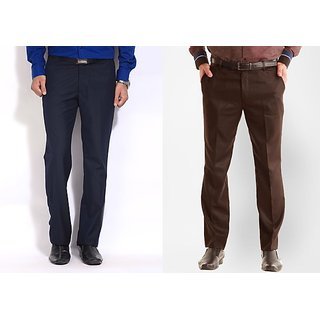 Inspire Combo Of Blue & Coffee Formal Trousers