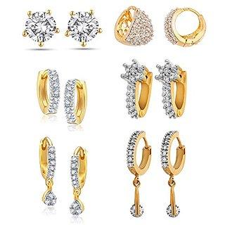 Youbella American Diamond Hoop Earrings For Women  Girls (Combo Of 6)