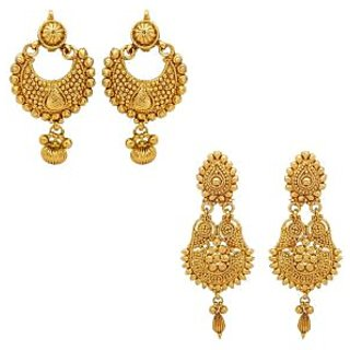 Youbella Gold Plated Dangle  Drop Earrings For Girls And Women(Combo Of 2)