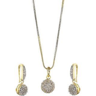 Youbella American Diamond Gold Plated Pendant Necklace With Earrings For Girls & Women