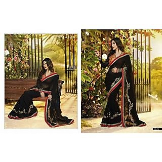 Women's Fancy sarees In Black Color
