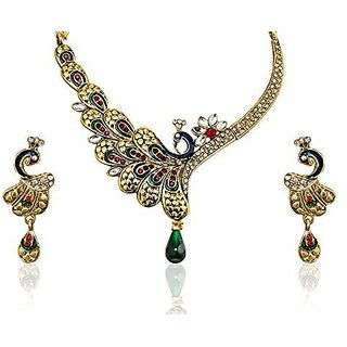 Youbella Gold-Plated Green Choker Necklace With Earrings Set For Women