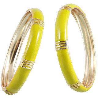Kriaa by JewelMaze Gold Plated Zinc Alloy Yellow Bangle Set-AAA0505