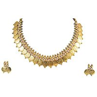 YouBella Traditional Pearl Temple Coin Necklace Set / Jewellery Set With Earrings For Women