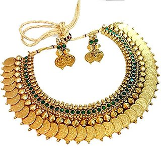 Bhagya Lakshmi Traditional Jewellery Green Emerald Temple Coin Necklace Set With Earrings For Women