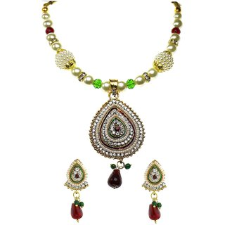 YouBella Glorious Pearl Kundan Necklace Set