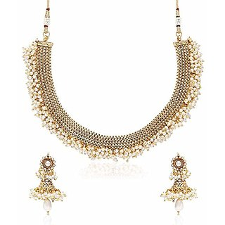 YouBella Latest Traditional Hanging Pearls Temple Necklace Set / Jewellery  Set With Earrings For Women