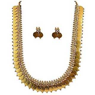 YouBella Long Traditional Maharani Pearl Temple Coin Necklace Set / Jewellery Set With Earrings For Women