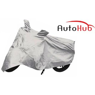 Flying On Wheels Two Wheeler Cover Without Mirror Pocket All Weather For Hero Passion Pro TR - Black & Silver Colour