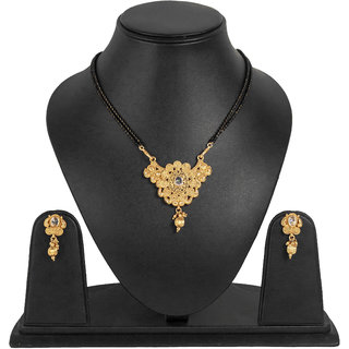 Penny Jewels Abstract Diamond Gorgeous Gold Plated Latest Designer Mangalsutra With Earring Set For Women  Girls