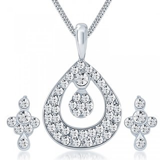 Shostopper White Australian Diamond Casual Rhodium Plated Contemporary Pendant With Chain  Earrings