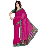 florence clothing company Pink Chiffon Printed Saree Without Blouse
