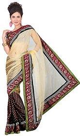 Aaina Purple Georgette Self Design Saree With Blouse