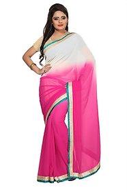 Aaina Pink Chiffon Plain Saree Without Blouse