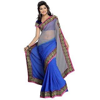 Aaina Black Chiffon Self Design Saree With Blouse