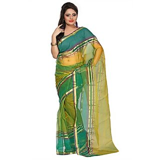 florence clothing company Green Tissue Printed Saree Without Blouse