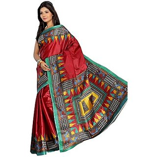 Florence Red Art Silk Printed Daily Wear Saree