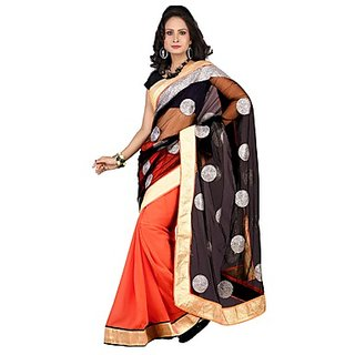 Florence Orange Net Embroidered Saree