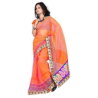 Florence Orange Tissue Embroidered Saree (Design 1)