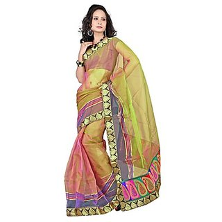 Florence Green Tissue Embroidered Saree (Design 2)