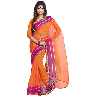 florence clothing company Orange Georgette Plain Saree Without Blouse