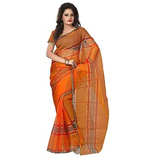 Florence Orange Tissue Lace Saree Without Blouse