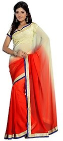 Aaina Red Chiffon Plain Saree Without Blouse