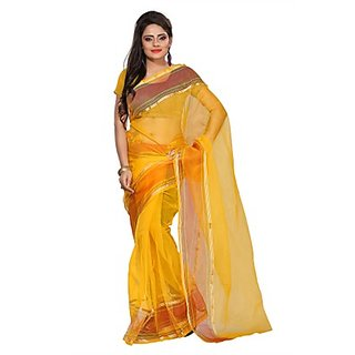 Florence Yellow Tissue Printed Daily Wear Saree (Design 14)