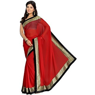 Aaina Red Chiffon Solid Fashion Saree (Design 8)
