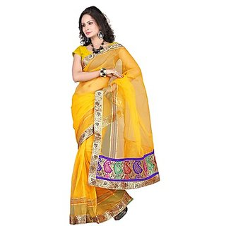 Florence Yellow Tissue Embroidered Saree (Design 1)