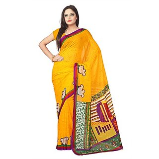 Florence Yellow  Green Printed Saree Without Blouse
